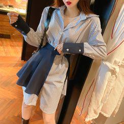 NENE - Set: Long-Sleeve Striped Mini A-Line Shirt Dress + Decorative Hem