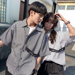 Acrius - Couple Matching Short-Sleeve Striped Shirt
