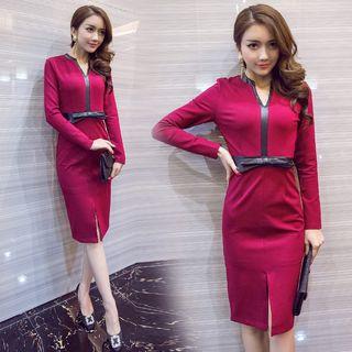 Sienne - Long-Sleeve V-Neck Bow-Waistline Bodycon Midi Dress