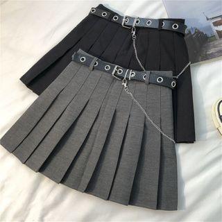 Class 307 - Set: Pleated Mini A-Line Skirt + Chain Belt