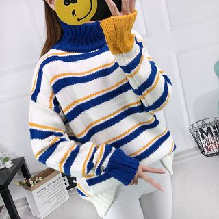 Sienne - Long-Sleeve Color Block Turtleneck Knit Sweater