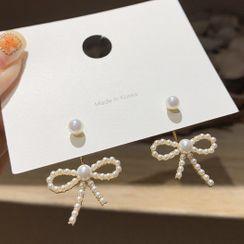 True Glam - Faux Pearl Bow Earring