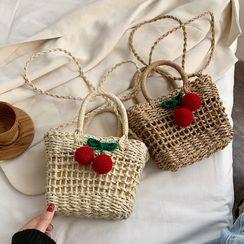 Emvee - 櫻桃貼布繡編織斜挎包