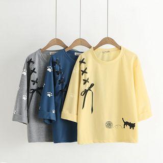 Kawaii Fairyland - 3/4-Sleeve Cat Embroidery T-Shirt