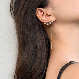 Pop Lop - Rhinestone Chained Cuff Dangle Earring