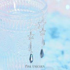 Pink Unicorn - 合金星星仿水晶耳墜