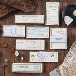 MUNBANG - Retro Ticket Print Diary Background Decoration Paper