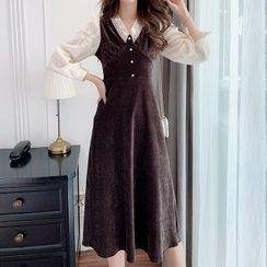 Gray House - Long-Sleeve Corduroy Midi A-Line Dress