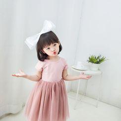 Ohori - Kids Mesh Panel Short-Sleeve Midi A-Line Dress
