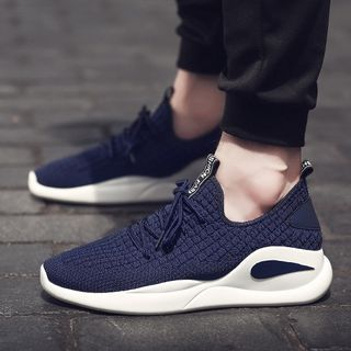 Auxen - Knit Lace-Up Sneakers