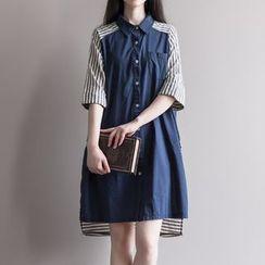 Planetary - Elbow-Sleeve Striped Paneled Mini Shirt Dress