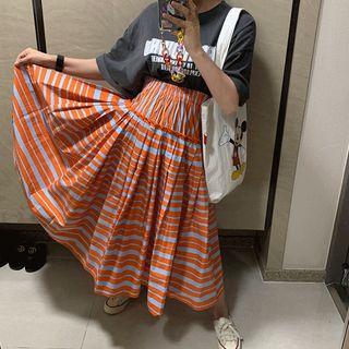 DISCOSALON - Band-Waist Striped Long Pleated Skirt