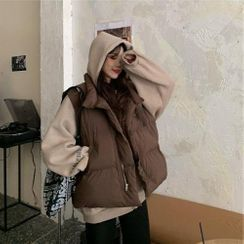 EROPIA - 无袖纯色夹棉大衣/长袖纯色连帽衫