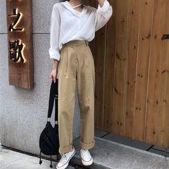 monroll - Long-Sleeve Blouse / High Waist Wide-Leg Pants
