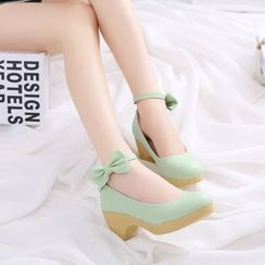 Pretty in Boots - Bow Accent Ankle Strap Pumps