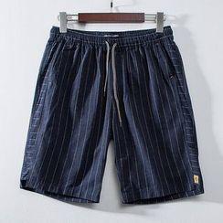 Wild Dragon - Striped Drawstring Shorts