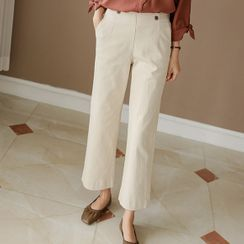 JUSTONE - Buttoned Stitched Wide-Leg Pants
