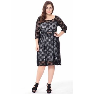 Chelsie Chic - Plus Size 3/4-Sleeve Lace Dress