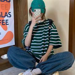 IndiGirl - Elbow-Sleeve Striped T-Shirt