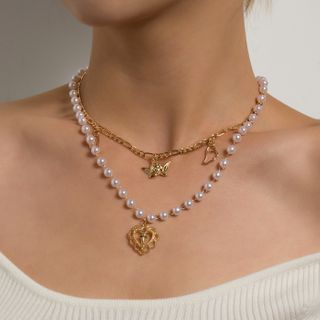 YASIN - Heart Cross & Butterfly Pendant Faux Pearl Layered Necklace