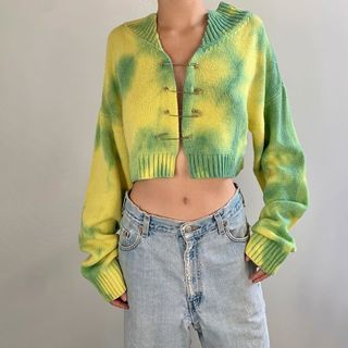 Bababy - Tie-Dye Cropped Cardigan with Safety Pins