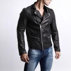 Green Banana - Stand-Collar Real-Leather Biker Jacket