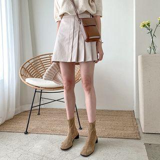 MERONGSHOP - Band-Waist Pleated Mini Skirt