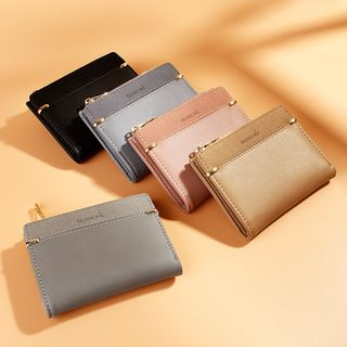 Taomicmic - Faux Suede Panel Zipper Short Wallet