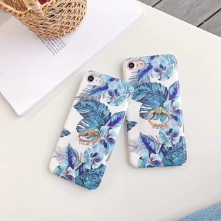 Cellfie - Leaf Print Ring Stand Mobile Case - iPhone XS Max / XS / XR / X / 8 / 8 Plus / 7 / 7 Plus / 6s / 6s Plus