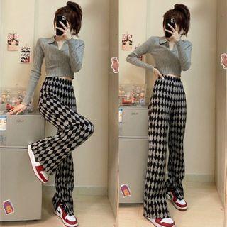 Moon City - 菱格宽腿裤 / 短款针织马球衫
