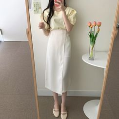 Yunhouse - Set: Short-Sleeve Square-Neck Buttoned Top + A-Line Midi Skirt