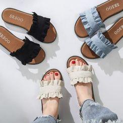 FiE FiE(フィエフィエ) - Frilled Slide Sandals