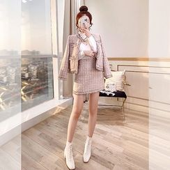 Rosewind - Set: Contrast Trim Tweed Jacket + Tweed Skirt