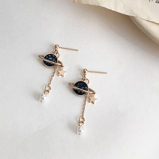 Show Mind - Faux Pearl Resin Planet Dangle Earring