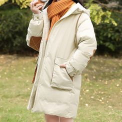 YICON - 插色連帽夾棉大衣