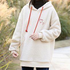 YICON - 仿羊毛心形刺繡連帽衫