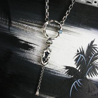 Sterlingworth - Hoop Gemstone Sterling Silver Chain Necklace