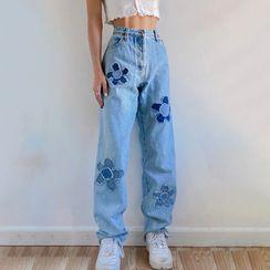 Sosana - High Waist Floral Print Jeans