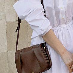 FROMBEGINNING - Ruched Pleather Shoulder Bag