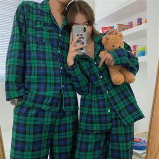 Essere - Couple Matching Pajama Set: Long-Sleeve Plaid Top + Pants