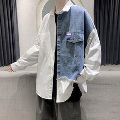 Andrei - Long-Sleeve Denim Panel Shirt