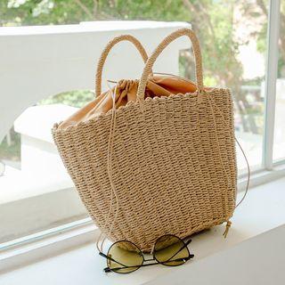 JUSTONE - Drawstring Rattan Tote Bag