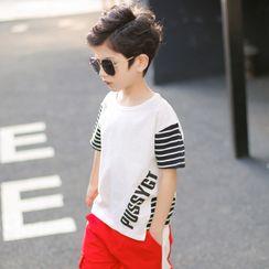 Cherry Pie - Kids Short-Sleeve Striped Panel T-Shirt
