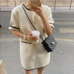 Bakli - Round-Neck Contrast-Trim Dress