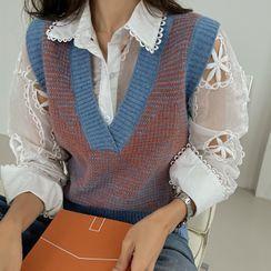 DABAGIRL(ダバガール) - V-Neck Patterned Sweater Vest