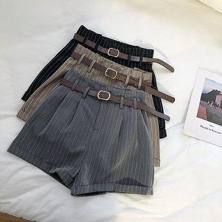 DIYI - High-Waist Pinstriped Shorts With Belt