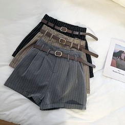 DIYI - High-Waist Pinstriped Shorts With Belt