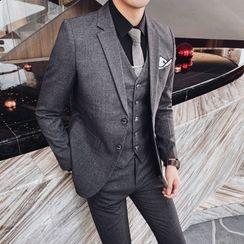 Blueforce - 套装: 纯色西装外套 + 马甲 + 西裤