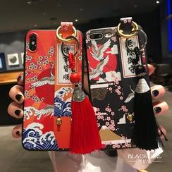 Huella - Funda de móvil con correa de estilo japonés para iPhone 6 / 6S / 6 Plus / 7 / 7 Plus / 8 / 8 Plus / X / XS / XR / XS Max