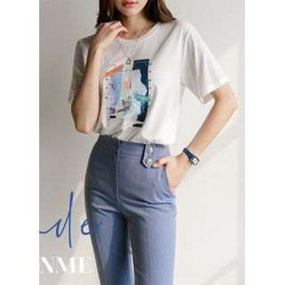 Styleonme - Letter Printed Round-Neck T-Shirt